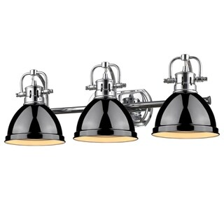 Golden Lighting Duncan Chrome 3-light Bath Vanity With Black Shades