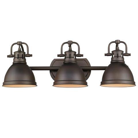 """Golden Lighting Duncan Rubbed Bronze Steel 3-light Bath Vanity - 8.25"""" L x 24.5"""" W x 8.5"""" H"""