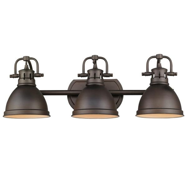 Golden Lighting Duncan Rubbed Bronze Steel 3 Light Bath Vanity