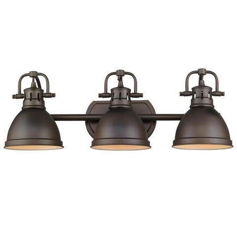 Golden Lighting Duncan Rubbed Bronze Steel 3-light Bath Vanity