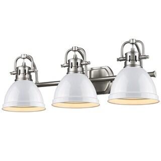 Golden Lighting Duncan Pewter 3-Light Bath Vanity With White Shades