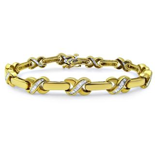 Noori 14k Yellow Gold 1 1/4ct TDW Baguette Diamond Bracelet (J-K, I1-I2)