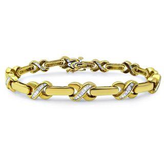 Noori 14k Yellow Gold 1 1/4ct TDW Baguette Diamond Bracelet