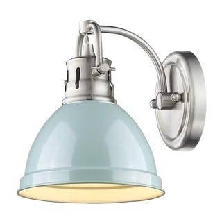 Golden Lighting Duncan Seafoam Shade 1-light Bath Vanity in Pewter