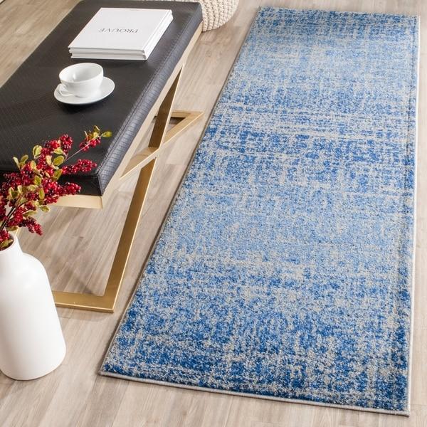 Safavieh Adirondack Modern Abstract Blue/ Silver Runner Rug - 2'6 x 16'