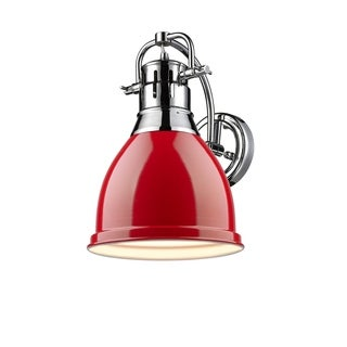 Golden Lighting Duncan Chrome Steel 1-light Wall Sconce With Red Shade