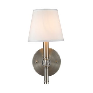 Golden Lighting Waverly Pewter One-Light Wall Sconce With Classic White Shade