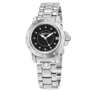 Mont Blanc Women's 102363 'Star' Black Diamond Dial Stainless Steel Swiss Quartz Watch