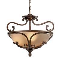 Golden Lighting Loretto Russet Bronze With Riffled Tannin Glass Semi-Flush Convertible Light Fixture