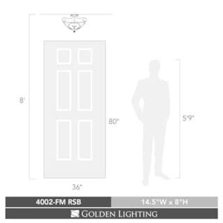Golden Lighting Loretto Russet Bronze Flush Mount With Riffled Tannin Glass