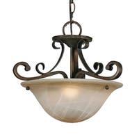 Golden Lighting Meridian Gold-tone Bronze Steel and Antique Marbled Glass Semi-flush Convertible Light