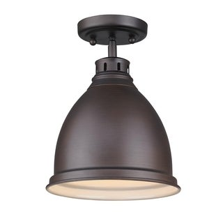 Golden Lighting 'Duncan' Rubbed Bronze-finish Steel Flush Mount With a Rubbed Bronze Shade