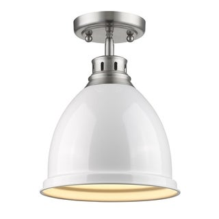 Golden Lighting Duncan Pewter With White Shade Flush-mount Light Fixture