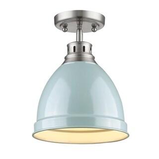 Golden Lighting Duncan Pewter Steel Flush-mount Light Fixture With Seafoam Shade