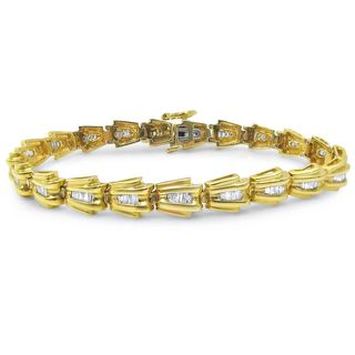 Noori 14k Yellow Gold 1ct TDW White Diamond Baguette Bracelet