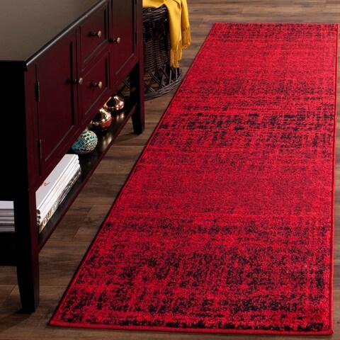 "Safavieh Adirondack Modern Abstract Red/ Black Runner Rug - 2'6"" x 22'"