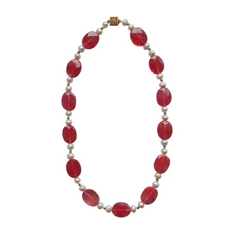 Cherry Quartz and Pearl Necklace