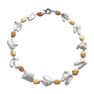 Double Tooth-shaped Pearl with Gold-colored Coins Necklace