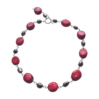 Silver Pearl and Red Coral Necklace
