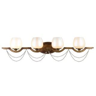 Golden Lighting Athena Grecian Gold-tone Steel and Pearlescent Glass 4-light Bath Vanity Light