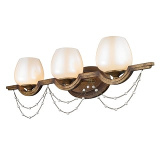 Golden Lighting Athena Grecian Gold-tone Steel and Pearlescent Glass 3-light Bath Vanity Light