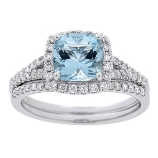 14k White Gold Aquamarine and 2/5 Carat TDW Diamond Ring (G-H, I1-I2)