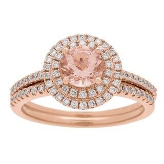 14k Rose Gold Morganite and 1/2 Carat TDW Diamond Ring (G-H, I1-I2)|https://ak1.ostkcdn.com/images/products/13305384/P20012894.jpg?impolicy=medium