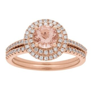 14k Rose Gold Morganite and 1/2 Carat TDW Diamond Ring (G-H, I1-I2)
