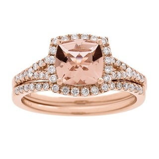 14k Rose Gold Morganite and 2/5 Carat TDW Diamond Bridal Ring (G-H, I1-I2)