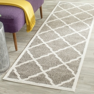 Safavieh Amherst Indoor/ Outdoor Dark Grey/ Beige Runner (2' 3 x 13')