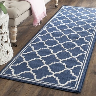 Safavieh Amherst Indoor/ Outdoor Navy/ Beige Runner (2' 3 x 13')