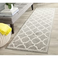 Safavieh Amherst Indoor/ Outdoor Dark Grey/ Beige Runner Rug - 2' 3 x 13'