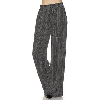 JED Women's Striped Elastic-waist Ultra-wide Palazzo Fluid Pants