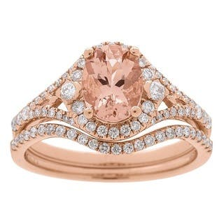 Anika and August 14k Rose Gold Morganite and 1/2ct TDW Diamond Bridal Set (G-H, I1-I2)|https://ak1.ostkcdn.com/images/products/13305455/P20012954.jpg?impolicy=medium