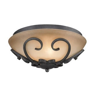 Golden Lighting Madera Black Iron Flush Mount With Toscano Glass