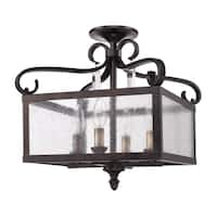 Golden Lighting Valencia Fired Bronze and Seeded Glass Convertible Semi-flush Lantern