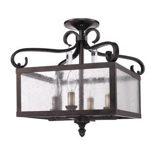 Golden Lighting Valencia Fired Bronze and Seeded Glass Convertible Semi-flush Lantern