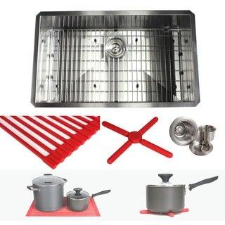 Ariel 32-inch Stainless Steel Zero Radius Single Bowl Kitchen Sink Complete Combo Accessories