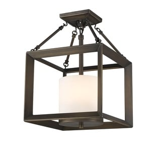 Golden Lighting Smyth Gunmetal Bronze Opal Glass Convertible Semi-flush Lantern
