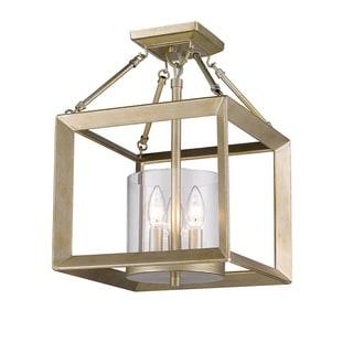 Golden Lighting Smyth White Gold Steel Cler Glass Convertible Semi-flush Light Fixture