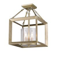 Golden Lighting Smyth White Gold Steel Cler Glass Convertible Semi-flush Light Fixture