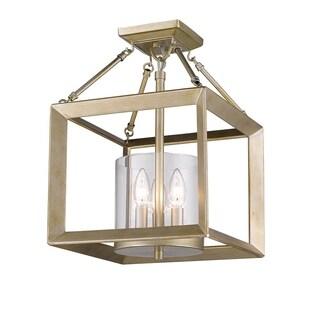 golden lighting smyth white gold steel cler glass convertible semiflush light fixture