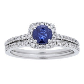 Anika and August 14k White Gold Sapphire and 3/8ct TDW Diamond Bridal Set (G-H, I1-I2)