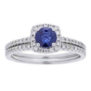 Anika and August 14k White Gold Sapphire and 3/8ct TDW Diamond Bridal Set (G-H, I1-I2)