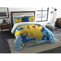 The Northwest Company Northwest Company Pokemon Big Pika Blue and Yellow Twin/ Full 3-piece Comforter Set
