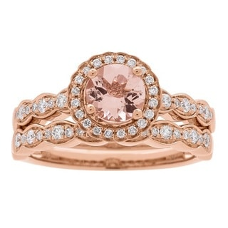 Anika and August 14k Rose Gold Morganite and 3/8ct TDW Diamond Bridal Set (G-H, I1-I2)