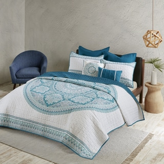 Urban Habitat Candice Aqua Cotton Coverlet Set