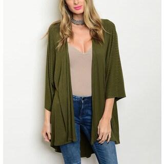 JED Women's 3/4 Sleeve Ribbed Kimono Olive Rayon/Spandex Cardigan