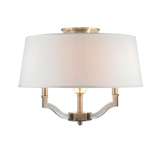 Golden Lighting Waverly White Pewter Semi Flush Mount Light