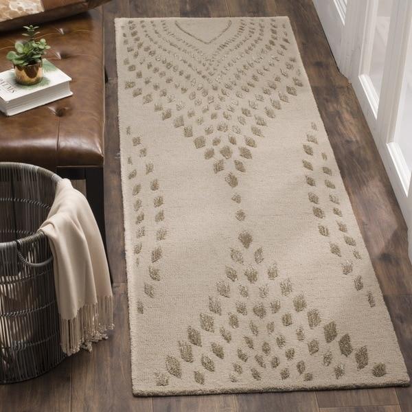 Safavieh Hand-Woven Bella Abstract Sand/ Brown Wool Runner (2' 3 x 7')